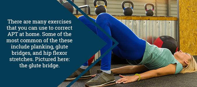 glute bridge exercise for anterior pelvic tilt correction